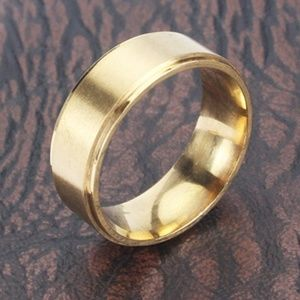 New Stainless Steel Gold Plated Band Ring Unisex